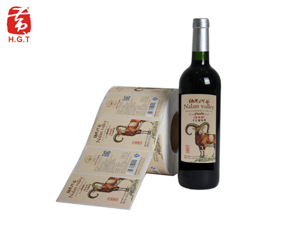 黄港同点状纸及烫哑金红酒标签定制