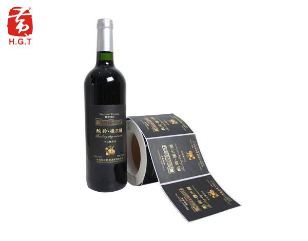 黄港同烫金红酒标签印刷